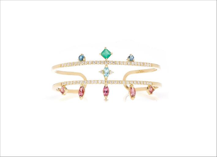 Bracciale in oro giallo, tormalina rosa topazio Blue London, smeraldo, apatite e diamanti