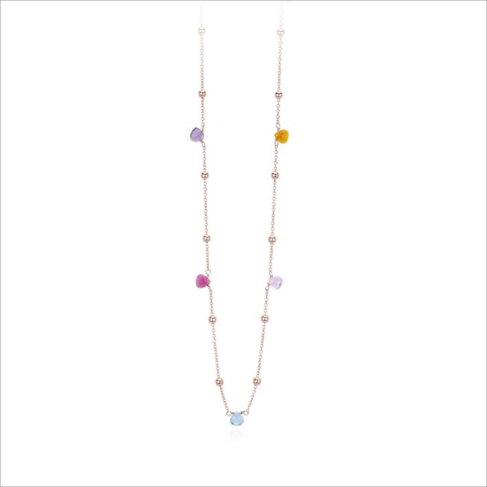 Collana in argento rosato e cristalli