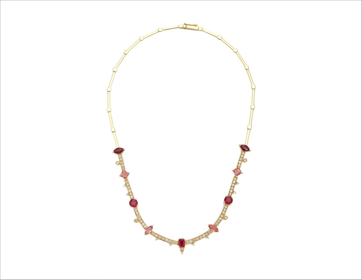Collana in oro giallo 18 carati con rubino, tormalina rosa e diamanti