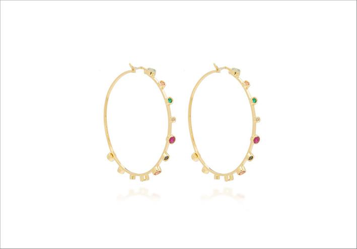 Orecchini in oro giallo 18 carati, con smeraldo, rubino, tormalina, apatite, topazio, ametista e diamanti