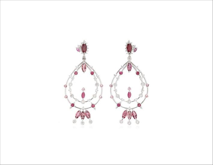 Orecchini in oro 18 carati con rubino, tormalina rosa e diamanti
