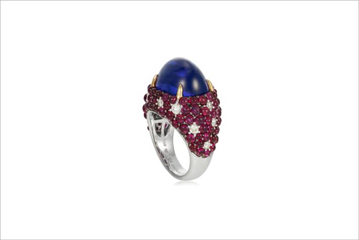 Anello con tanzanite, diamanti e rubini