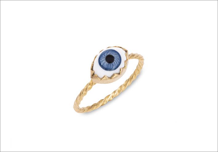 Anello con occhio di vetro antico su argento placcato oro
