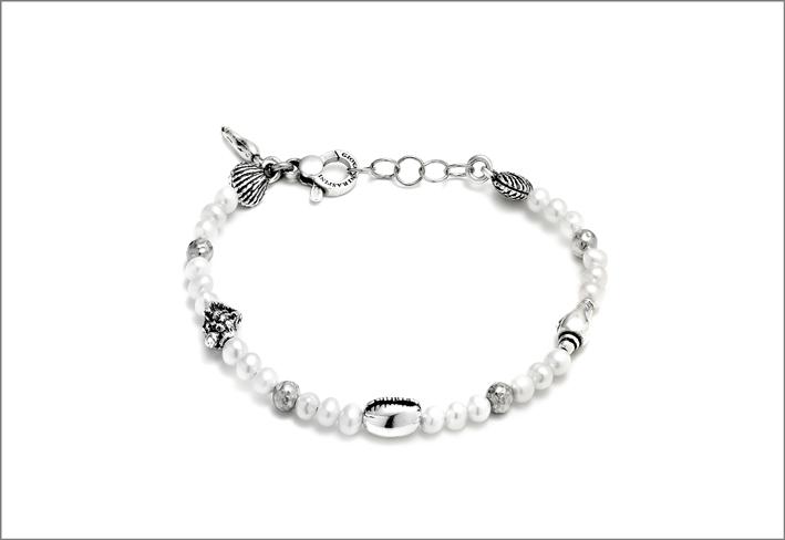 Bracciale in argento e perle della collezione Sicily