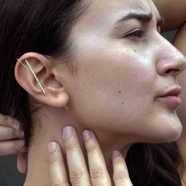 Ear Wrap Crawler Hook earrings by Sash Ear Needles