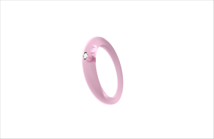 Anello in silicone rosa con diamante