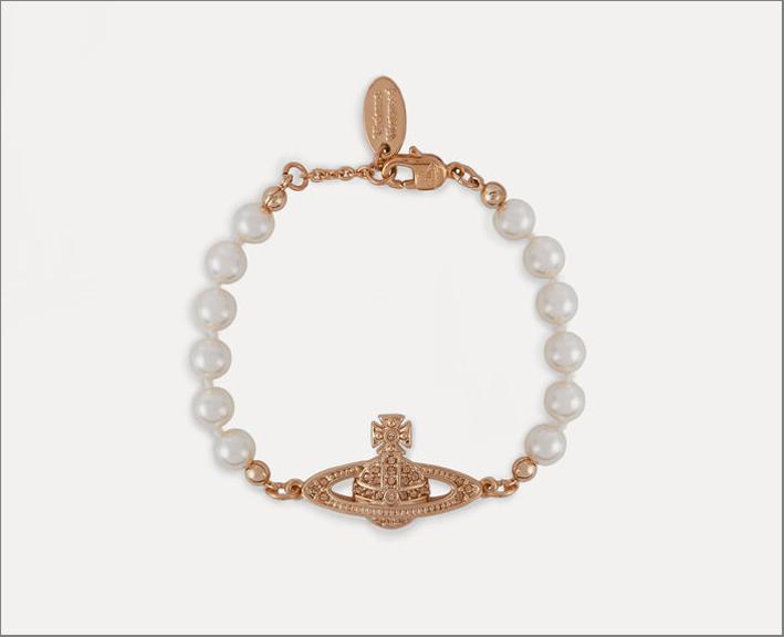 Bracciale in ottone con perle Swarovski