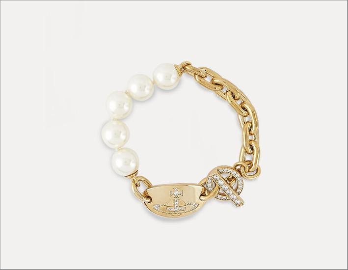 Bracciale in ottone con perle Swarovski by Vivienne Westwood