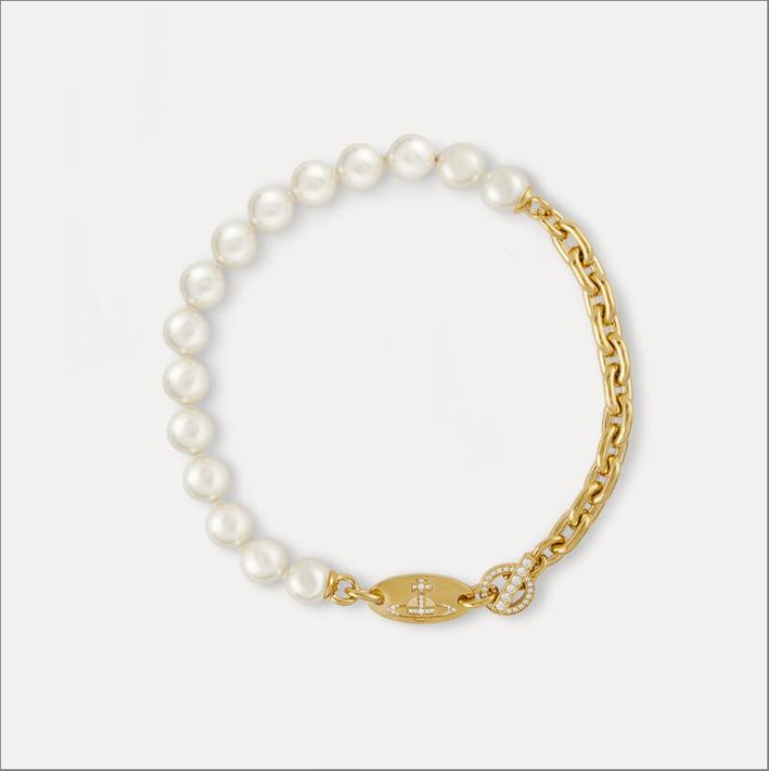 Collana in ottone con perle Swarovski