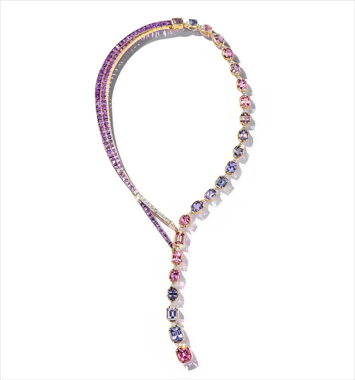 Collana di spinelli blu, viola e rosa, con zaffiri viola