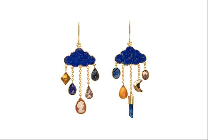 Orecchini con lapislazzuli, cammeo, abalone, opale, quarzo rivestito, ametista e strass vintage, argento placcato oro 18 carati