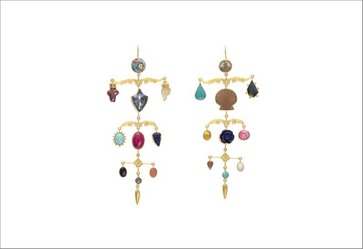 Orecchini con lapislazzuli, turchese, perla, opale e strass vintage argento placcato oro 18 carati