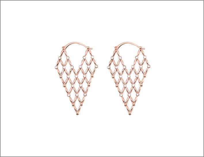 Orecchini in ottone rosato