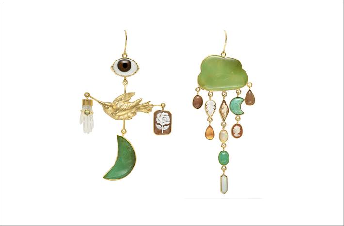 Orecchini con peridoto, cammeo, madreperla, opale, topazio, turchese, perla e pietra di luna, argento placcato oro 18 carati