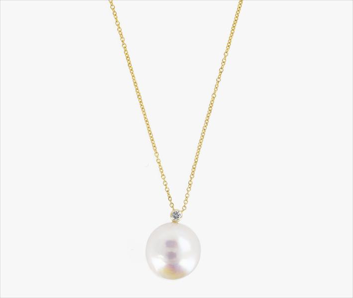 Collana con diamante e perla