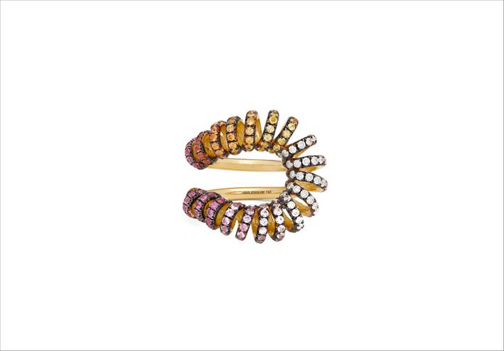 Anello Maia in oro 18 carati, diamanti e zaffiri