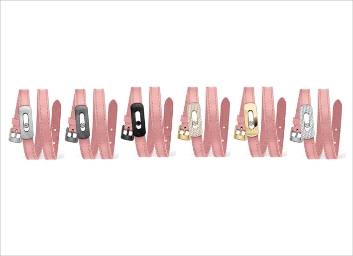 Alcuni dei bracciali della collezione My Move nella serie Baby Pink