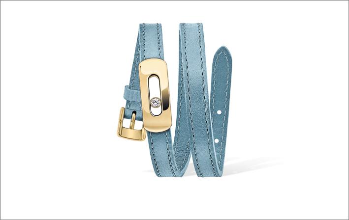 Bracciale in oro giallo e diamante con pelle Blu Santorini