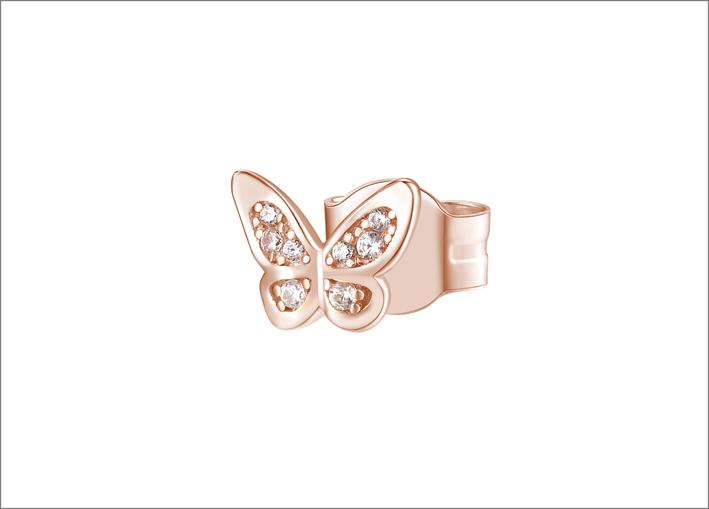 Orecchino in argento 925‰ e placcatura oro rosa a forma di farfalla con cubic zirconia bianchi
