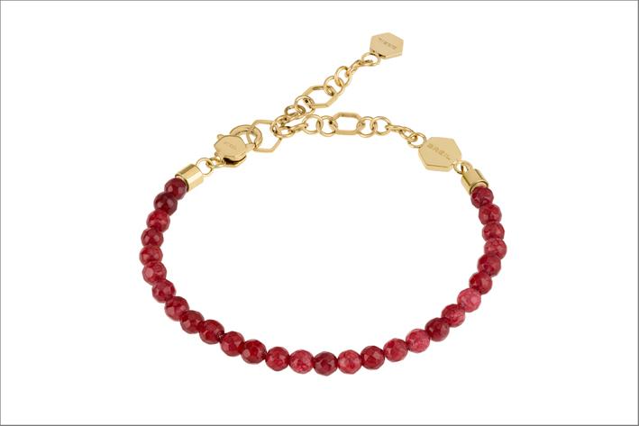 Bracciale in acciaio con perline di agata rossa