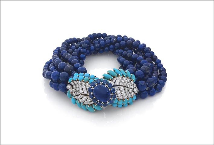 Cartier, bracciale con diamanti, turchesi, lapislazzuli, zaffiri