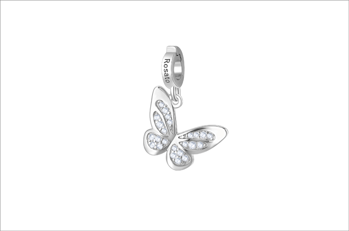 Charm in argento 925‰ a forma di farfalla con  cubic zirconia bianchi