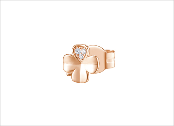 Orecchino in argento 925‰ e placcatura oro rosa a forma di quadrifoglio con cubic zirconia bianchi