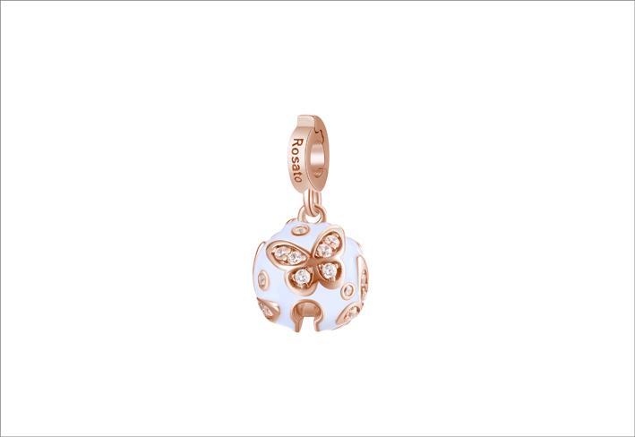 Charm in argento 925‰ e placcatura oro rosa a forma di campanellino con smalto bianco, 30 cubic zirconia bianchi