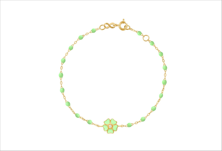 Bracciale Classic Gigi Flower in oro 18 carati, perle in resina e diamante