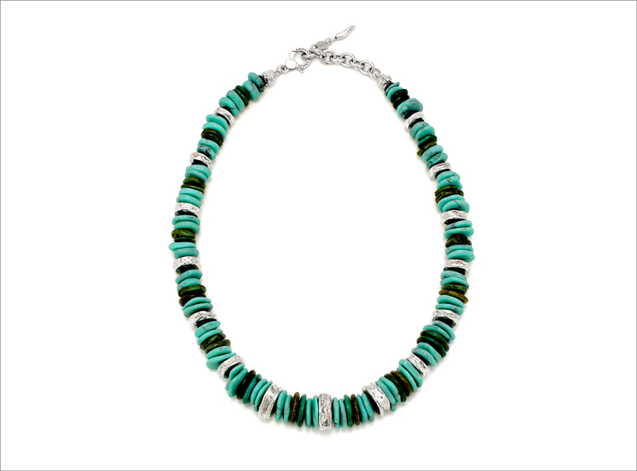 Collana Bali Blucon argento naturale, turchese e diaspro verde