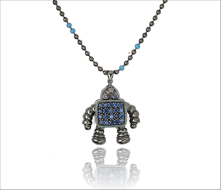 Pendente Robot in argento,  smalto blu e zaffiri