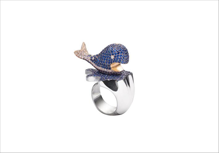Anello balena in argento, oro con zaffiri