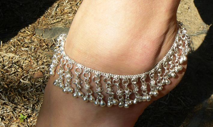 Cavigliera indiana in argento