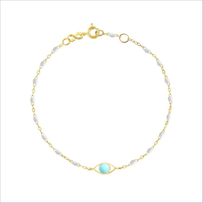 Bracciale in oro giallo e perle in resina bianca