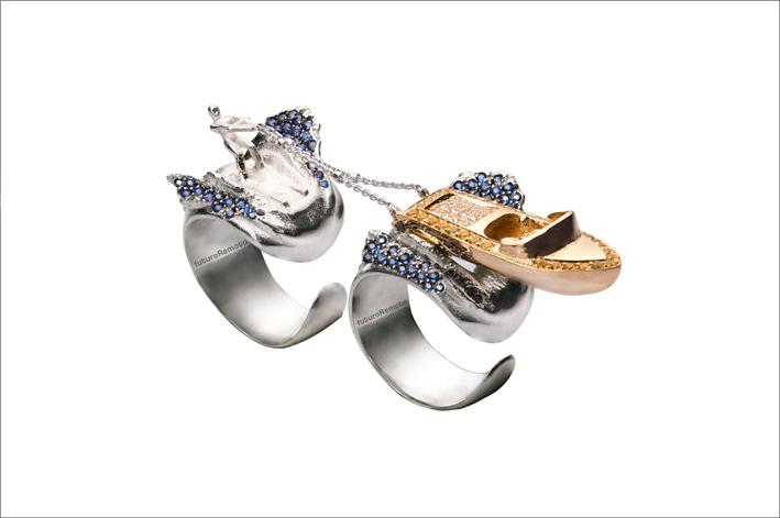 Anello doppio in argento bagnato oro con cubic zirconia colorati