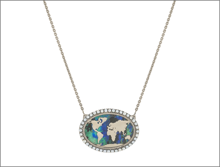 Collana in oro, perle akoya, azurmalachite