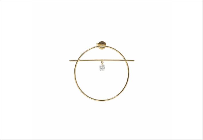 Orecchino singolo Fibule in oro 18 carati e diamante