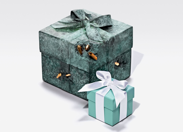 Tiffany x Arsham Studio Bronze Eroded Tiffany Blue Box with Blue Box. Toby McFarlan Pond for Tiffany & Co.