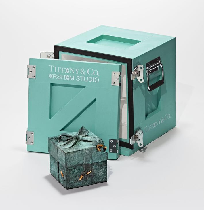 Tiffany x Arsham Studio Bronze Eroded Tiffany Blue Box with art-handling crate. Toby McFarlan Pond for Tiffany & Co