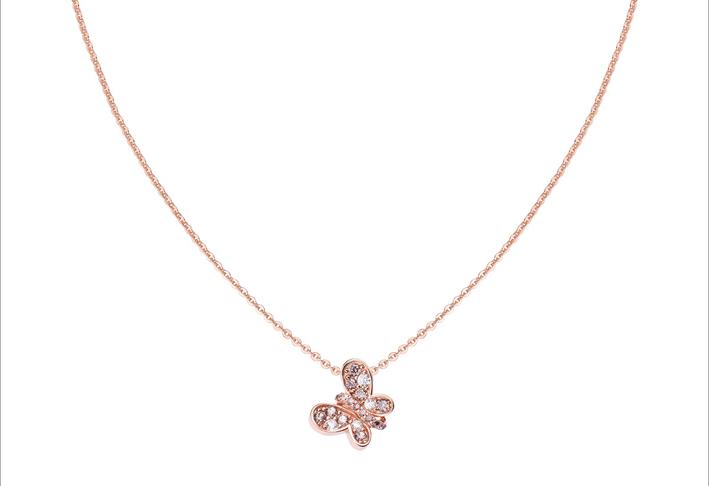 Collana in argento rosé con cubic zirconia bianchi e brown