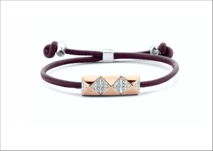 Bracciale Slider in oro rosa con pavé di diamanti