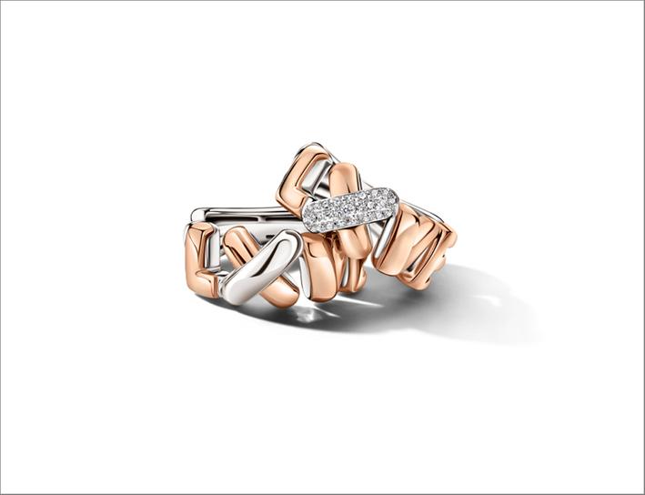 Anelli Love in oro rosa e bianco, piccolo pavé in diamanti