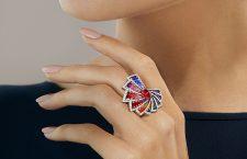 Anello Aura, con micromosaico, diamanti e rubellite